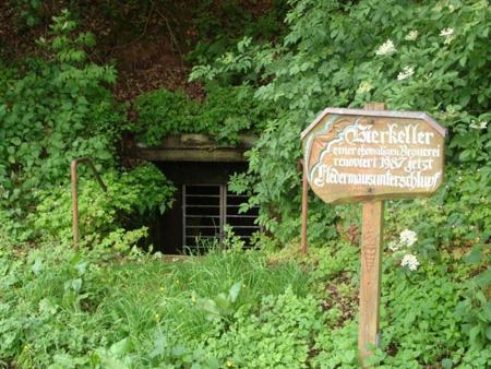 Eine Höhle in Poppenhausen? Nein, ein ehemaliger Bierkeller, in dem jetzt Fledermäuse leben.