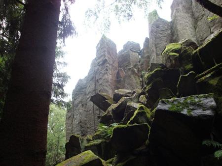 Deutlich erkennt man die gigantischen Basaltsäulen, meist sind sie 5-eckig.