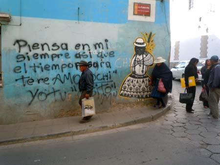 Potosi eine Aussenwand der Innenstadt